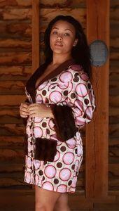 Retro multi circles fur dress